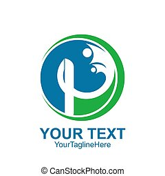 Initial letter P logo template colored blue green human design for business and company identity