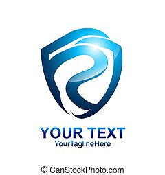 Initial letter P logo template colored blue shield design for business and company identity