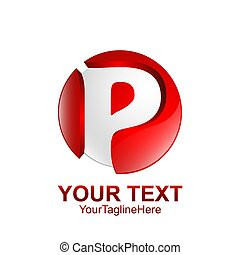 Initial letter P logo template colored silver red circle sphere design for business and company identity