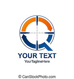 Initial letter Q logo template colored orange blue arrow...