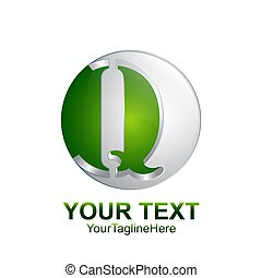 Initial letter Q logo template colored silver green circle sphere design for business and company identity