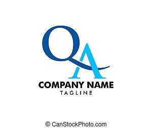 Initial Letter QA Logo Template Design
