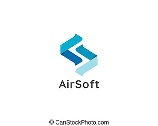 initial letter S logo. abstract air flow flight arrow icon symbol design concept for apps, business, technology, expedition, money exchange service. element template vector illustration.