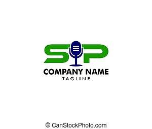 Initial Letter SIP Podcast Logo Design