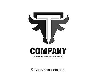 initial letter t with simple Bull head vector