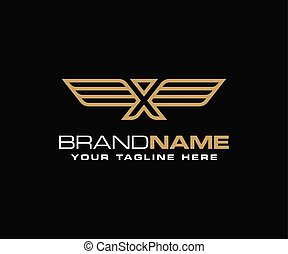 Initial letter X wing logo template vector