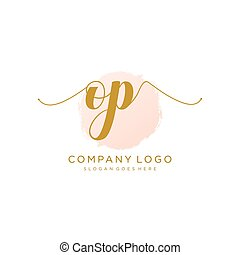 Initial OP handwriting logo with circle template vector - ...