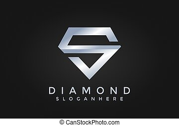 Initial S Logo. S Letter Diamond Icon Design Vector Illustration