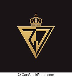 initial two letter half logo triangle gold