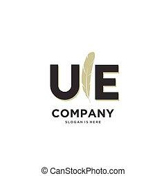 Initial UE letter Unique attractive creative modern luxury ...