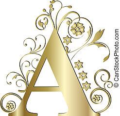 initialbuchstabe, a, gold