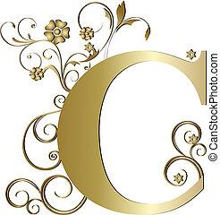initialbuchstabe, c, gold