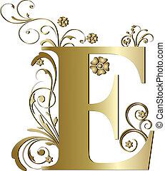 initialbuchstabe, e, gold