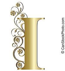 initialbuchstabe, ich, gold