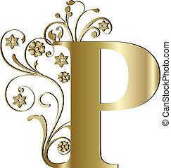 initialbuchstabe, p, gold