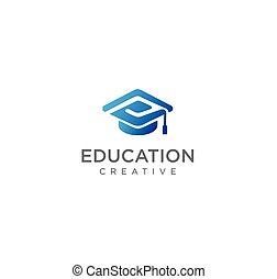 initiale, collège, stockage, logo, toge, vecteur, conception, chapeau, école, p, lettre alphabet, education