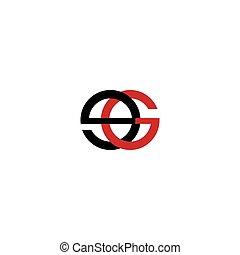 initiale, ou, gabarit, logo, ge, lettre, conception, vecteur...