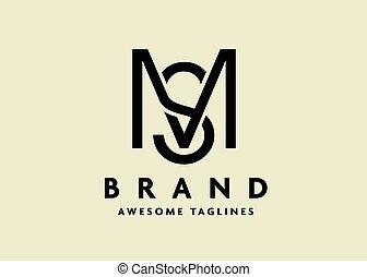 initiale, sm, lettre, ou, ms, logo