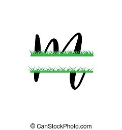 initiale, vecteur, monogram, fente, isolé, m, lettre, herbe