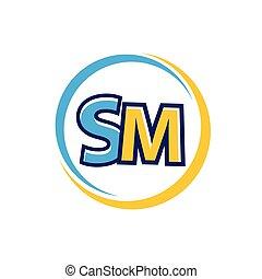 initiales, sm, icône