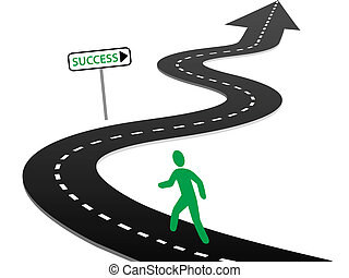 initiatief, beginnen, reis, snelweg, bochten, om te, succes
