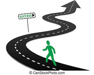 initiativ, begynd, rejse, hovedkanalen, kurver, til, held