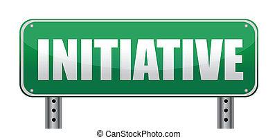 initiative, isolé, panneaux signalisations