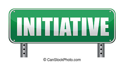 Initiative road sign isolated on white.