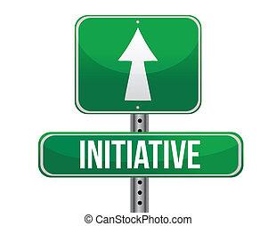 initiative, route, illustration, signe