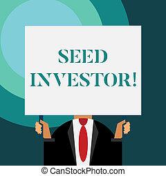 iniziale, affari, inizio, soldi, esposizione, richiesto, business., scrittura, nota, fonte, seme, foto, showcasing, nuovo, investor.