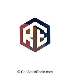 iniziale, re, vettore, lettera, logotipo, esagonale