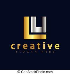 iniziale, vettore, lu, lettera, logotipo