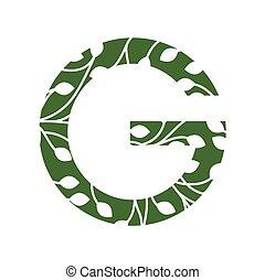 iniziali, logotipo, ecologico, g, ambiente