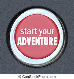 iniziare, bottone, esperienza, inizio, avventura, divertimento, tuo, rosso