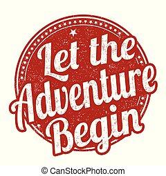 iniziare, grunge, francobollo, gomma, permettere, avventura