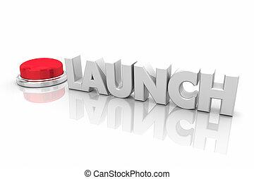 iniziare, parola, render, lancio, bottone, illustrazione, inizio, nuovo, ditta, rosso, 3d