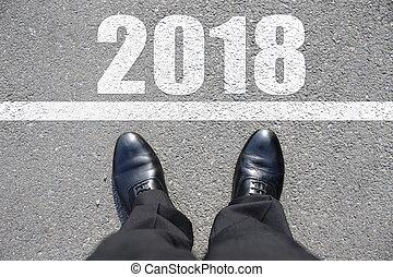 inizio, a, anno nuovo, 2018