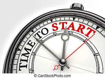 inizio, concetto, orologio tempo