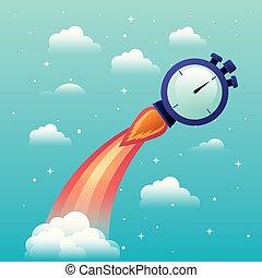 inizio, cronometro, su, razzo