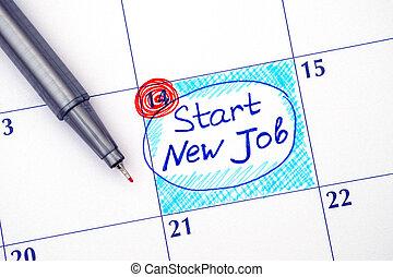 inizio, lavoro, promemoria, calendario, nuovo