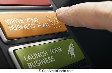 inizio nuovo, business., passi