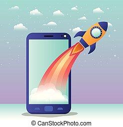 inizio, smartphone, su, razzo