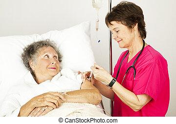 injeção, de, a, enfermeira