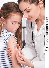 injection., 充滿信心, 女性 醫生, 做, 注射, 到, a, 小女孩