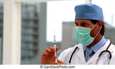 injection, préparer, docteur