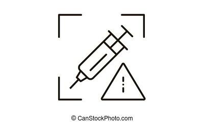 injection, problèmes, contour, icône, illustration, détection