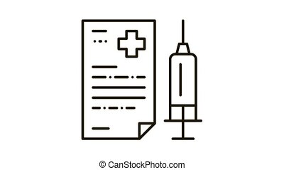 injection, rapport, icône, monde médical, animation