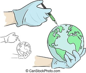 Injection syringe in hand with gloves to the world vector illustration sketch doodle hand drawn with black lines isolated on white background. Coronavirus COVID-19 treatment.