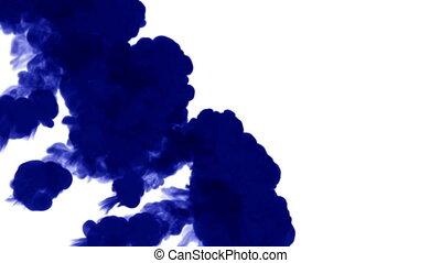 injections, taché d'encre, render, bleu, matte., eau, fond, encre, 9, blanc, 3d, luma