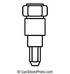 injector, automobile, icona, stile, contorno
